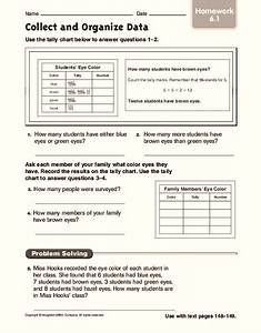Collect And Organize Data  Homework Worksheet For 4th