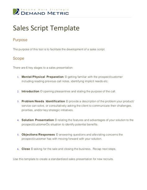 Script Template Sales Script Template
