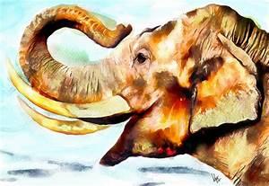 Painting Of Elephant Painting Elephant Art Print Elephant ...
