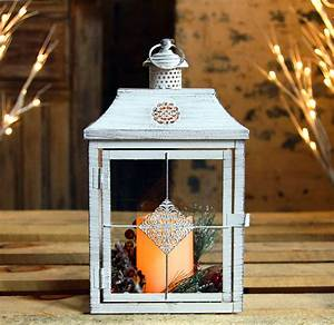 Antique, White, Flameless, Candle, Lantern, With, Removeable, Pinecone, Decor, -, Timer