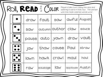vowel diphthongs au aw literacy centers by the wise