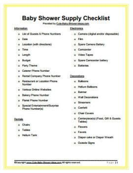 list for a baby shower free baby shower supply checklist baby shower ideas