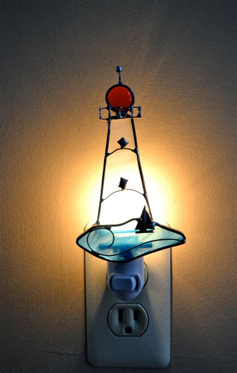 stained glass lighthouse l light the way lighthouse stained glass night light by