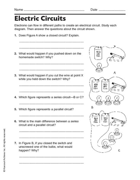electricity worksheets for 5th grade
