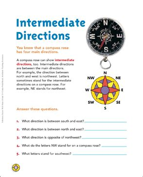 intermediate directions map skills printable maps