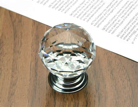 10pcs decorative hardware k9 glass chrome cabinet cupboard door knobs diameter 30mm k9