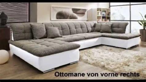 wohnlandschaft sofa couch wohnzimmer strukturstoff leder