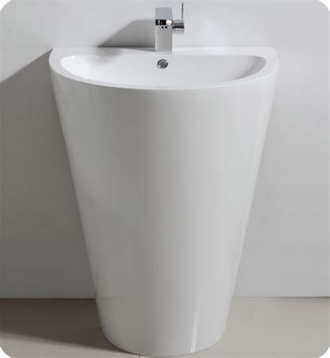 wide base pedestal sink fresca fvn5023wh parma 24 quot white pedestal sink with