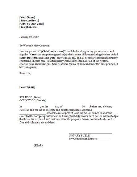 power of attorney letter power of attorney letter for child care templates 9187