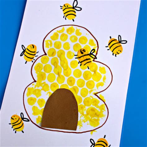 25 bright yellow crafts for preschoolers 858 | bumble bee finger print