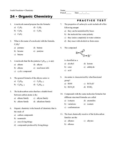 Common Organic Chemistry Test Questions Homeshealthinfo