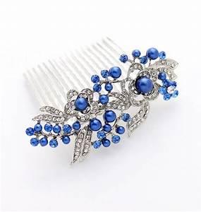 Blue Bridal Hair Accessory Blue Hair Comb Royal By
