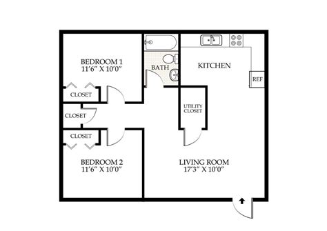 2 Bedroom 1 Bath Floor Plans by Penningroth Apartments Iowa City Iowa