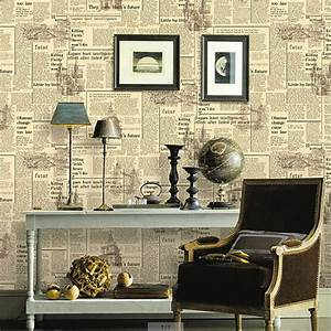 New Vintage Newspaper Wallpaper Bar Cafe Decoration Wall ...