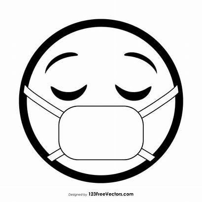 Mask Medical Emoji Face Outline Coloring Clip