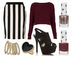 Black white stripe skirt burgundy jumper topshop outfit u2013 Raindrops of Sapphire