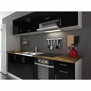 Cuisine Complète Pas Cher : arty cuisine compl te 2m40 vier offert laqu noir ~ Melissatoandfro.com Idées de Décoration