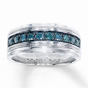Kay men39s blue diamond ring 1 2 ct tw round cut sterling for Mens wedding ring with blue diamonds