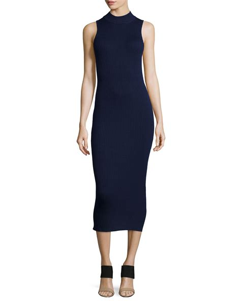 navy sweater dress lyst atm ribbed midi sweaterdress in blue