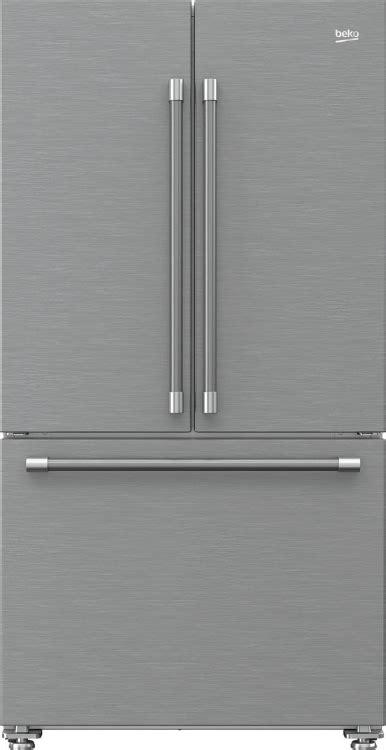 beko  cu ft fingerprint  stainless steel counter depth french door refrigerator