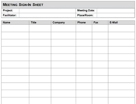 Company Sign Template visitors signing in sheet template business