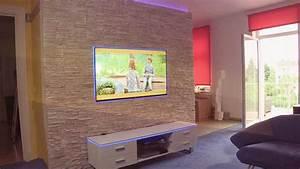Wandregal Für Fernseher : bauanleitung fernsehwand aus stein ~ Michelbontemps.com Haus und Dekorationen