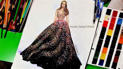 paint fashion illustration  beginners sparkly