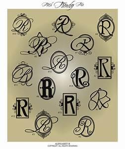 fancy monogram letter quot r quot vinyl wall decal sticker With vinyl alphabet letter stickers
