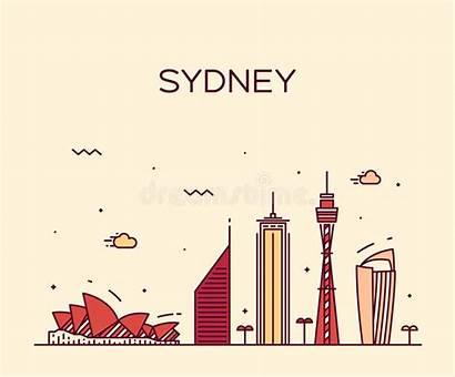 Sydney Skyline Vector Illustration Silhouette Trendy Linear