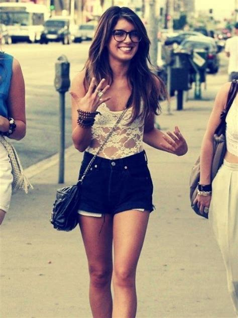 High waisted shorts lace nerd glasses and bangles! love love love!!   My Style   Pinterest ...
