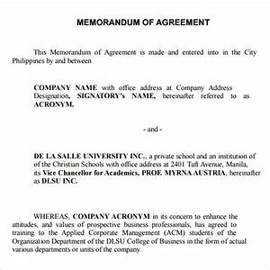 memorandum of agreement 9 free pdf doc download With how to write a memorandum of understanding template