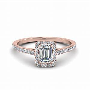 Emerald Cut French Pave Halo Diamond Ring In 14K Rose Gold ...