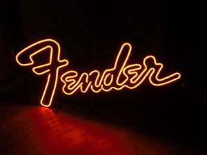 FENDER RED NEON WINDOW DISPLAY SIGN