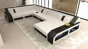 Couch U Form Xxl : xxl leder wohnlandschaft matera u form designercouch beleuchtung ebay ~ Bigdaddyawards.com Haus und Dekorationen