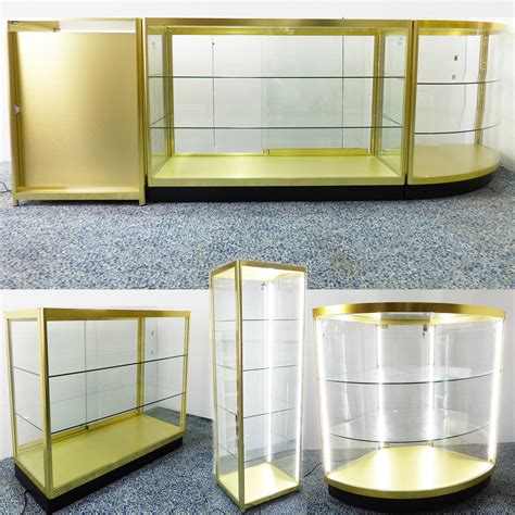 Gold Color Shop Counter Set Retail Display Counters Glass