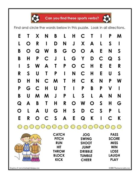 verbs  sports word search worksheet  resource site