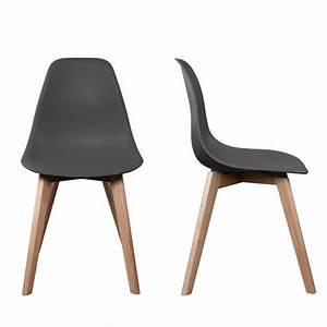 Chaise stokholm gris pieds bois lot de 2 chaise design for Deco cuisine avec chaise pied bois