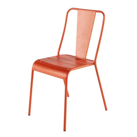 chaise en metal chaise de jardin en métal orange harry 39 s maisons du monde
