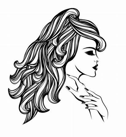 Hair Salon Vector Beauty Woman Wavy Makeup
