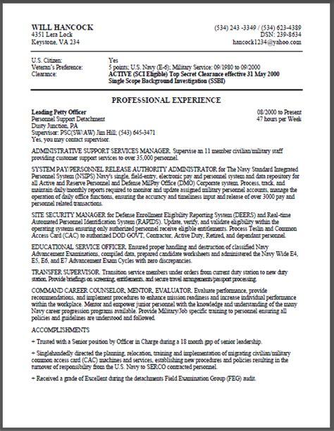 military  federal resume sample certified resume