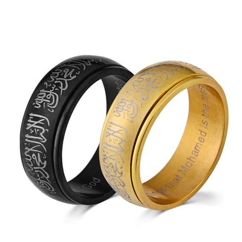 islamic shahada quran print gold muslim rings arabic muhammad jewelry unisex islamic rings gift