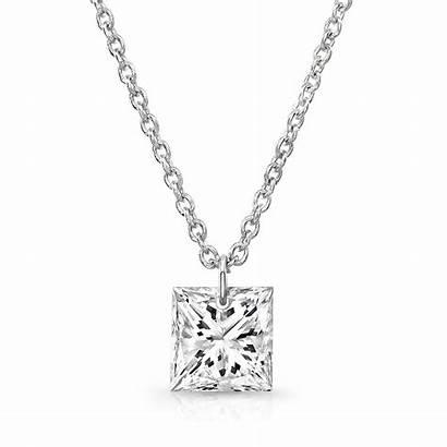 Diamond Necklace Princess Cut Diamonds Gold Bare