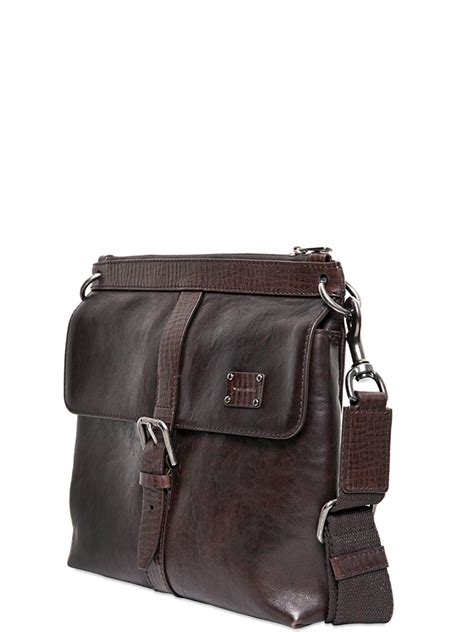 dolce gabbana brushed leather cross body bag  brown  men lyst