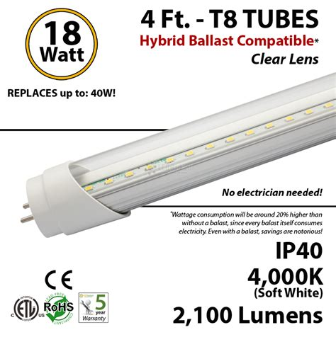 4 ft led hybrid ballast compatible 5000k replace