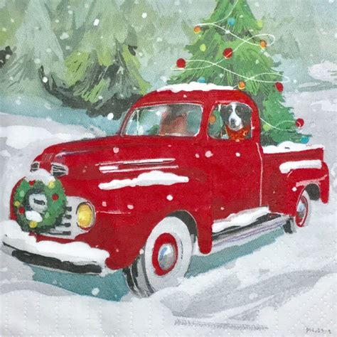 cheerful red pickup truck   dog  colorful decoupage napkin  ready