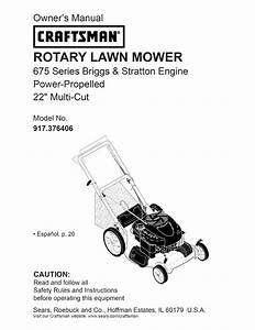 Craftsman Lawn Mower 917 376406 User Guide