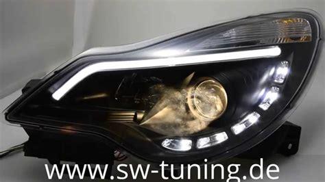Sw Drltube Scheinwerfer Corsa D Facelift Black Led Tfl Sw Tuning