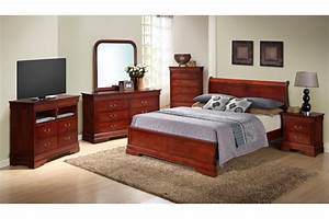 Bedroom sets dawson cherry queen size platform look for Queen size bedroom sets for