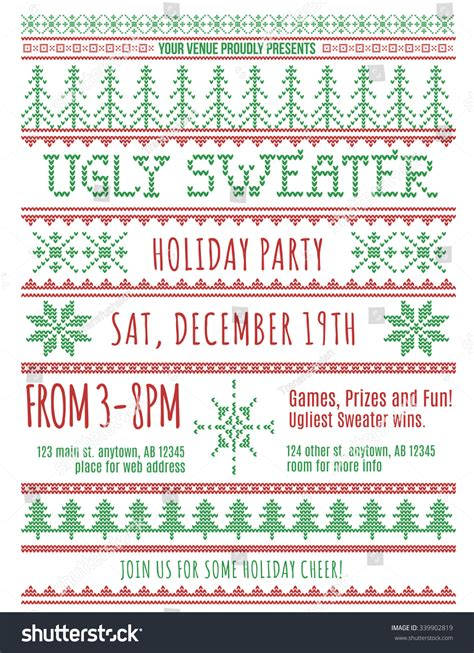 red  green ugly christmas sweater party invitation