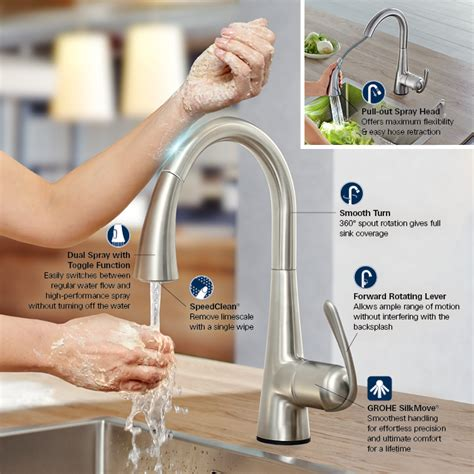 how to install a grohe kitchen faucet grohe ladylux cafe touch single handle pull sprayer